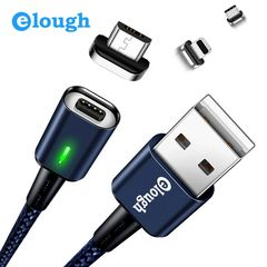 Three-in-one fast charge data cable 3A magnetic USB charging cable magnetic data cable Blue Apple head+Android head+Type C head (3 in 1)