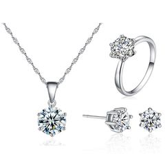 Stylish simple zircon set with earrings  necklace and ring set with three pieces of jewelry 8d-6j-7-6r one size