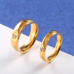 18k gold ring titanium steel fashion new Korean style  love couple popular jewelry ring female gold 10#