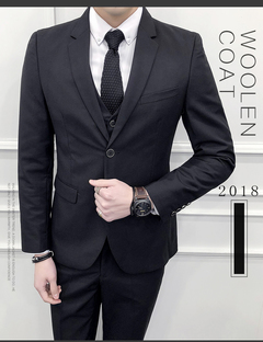 Three-piece Business Groom Suit for Men gray M