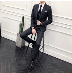 Men's Suit Three Kinds of Korean Edition Groom's Wedding Dress Dressed in British Style gray M