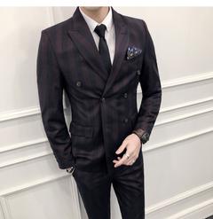 Men's Suit Three-piece Business Suit for Men and Groom's Groomsman's Wedding Dress red M