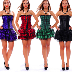 Women's Lace Overbust Corset Skirt Sexy Bustier Sexy Gothic Lace Up Corset Bustier Dress Short Skirt black s