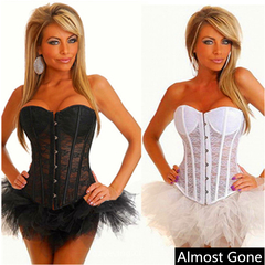 Women's Sexy Lace Up Hollow Spiral Steel Boned Corset Bustier Bridal Sexy Strong Boned Overbust black s