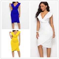 Sleeveless deep V-collar skirt sexy Women pure colour dress high waist party slinky dress s white