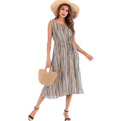 2019 women summer round collar sleeveless dress Striped printed skirt holiday Tie dress m stripe
