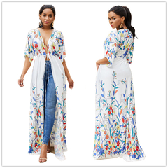 Long sleeve printed women long dress coat large size sexy holiday beach Sunscreen coat white one size