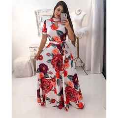 Large size Multiple colors Short sleeve women dress Flower printing pleated long dress party skirt xxl color1