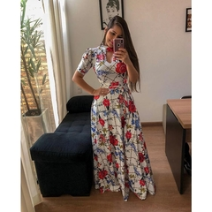 Large size Multiple colors Short sleeve women dress Flower printing pleated long dress party skirt s color2