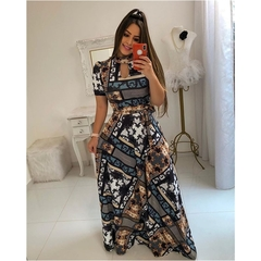 Large size Multiple colors Short sleeve women dress Flower printing pleated long dress party skirt m color11