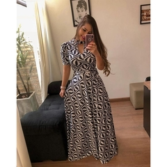 Large size Multiple colors Short sleeve women dress Flower printing pleated long dress party skirt m color12