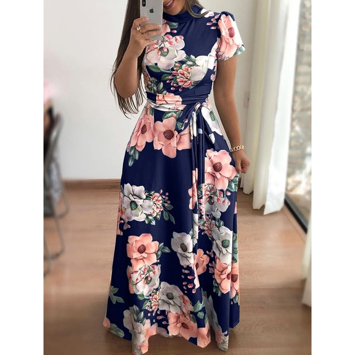 Large size Multiple colors Short sleeve women dress Flower printing pleated long dress party skirt s dark blue