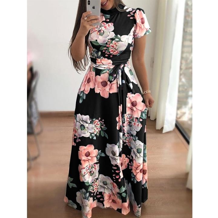 Large size Multiple colors Short sleeve women dress Flower printing pleated long dress party skirt s black