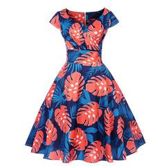 2019 new women Short sleeve printed dress V collar pleated skirt medium waist office lady dress xxl color8