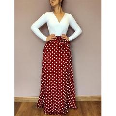 Long Sleeve V collar women tie belt dress round dots large swinging skirt office lady classics dress m white
