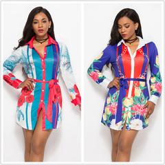 2019 Women large size Long Sleeve Shirt Dress Floral Print Multicolor sexy Beach party Dresses xxl light blue