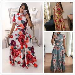 Large size Multiple colors Short sleeve women dress Flower printing pleated long dress party skirt s light blue