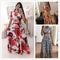 Large size Multiple colors Short sleeve women dress Flower printing pleated long dress party skirt xxl light blue