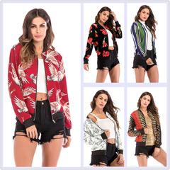 2019 new long sleeve Women fashion jacket multiple color print baseball leisure coat color1 xl