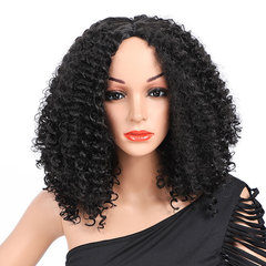 Woman's Natural Real  Middle Score Long Hair Curly  Hair Synthetic Wig Headset Rolls Wigs black 16inch