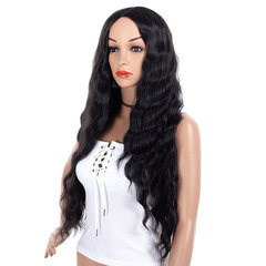Fluffy natural woman mid-corn perm wig with big wave curls hair synthetic headgear black 25inch