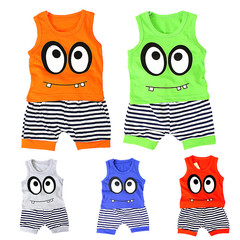 Casual Cotton Cartoon Sleeveless Vest+ Stripe Shorts Sport Suit Set Baby Clothes Set Spring Summer green M