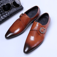 2019 New Men's shoes Pointed Glossy shoes Business shoes PU Loafers Leather shoes Yellow brown 34 PU