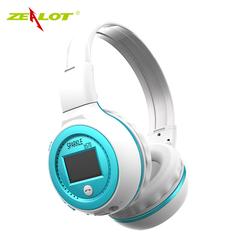 Hotone Zealot B570 Wireless Headphones fm Radio Bluetooth Headsets LCD  microphone Support TF card blue