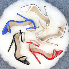 Sexy Women Red Wedding Shoes Peep Toe Stiletto High Heels Shoes Woman Sandals black 35