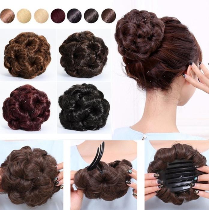 Fresh, elegant women's curls, hair, donuts, claws, wigs