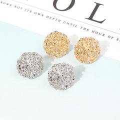 Metal vintage earrings, individual white, round metal earrings, female golden normal