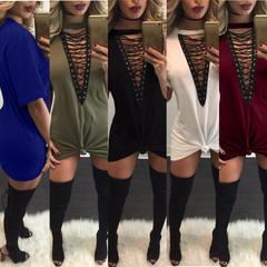 Women's V-neck short sleeved light loose dress nightclub cotton T-shirt skirt s black
