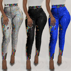 Pop hot pants nightclub sexy discoloration bright piece trousers hot sell beaded bottom pants black S