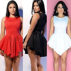 Hot bandage skirts irregular hem foreign trade European and American sexy dresses s black