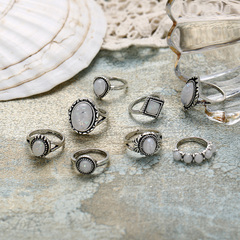 Retro jewelry hot selling simple inlay Aubao eight pieces jewel ring girl silvery normal