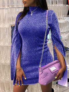 Ladies, semi-high collar, split, long-sleeved skirts, sexy nightclubs, shiny dresses. s blue