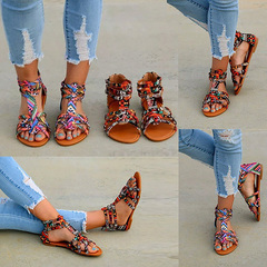 2019 New national style flat bottom sandals female colorful lace Roman large size sandals black 35