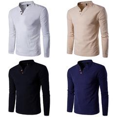19 Blast gentleman men's cotton linen long-sleeved shirt flax collar two buckles white m