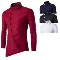Court style men repair slant door shirt long sleeve shirt youth long sleeve shirt white m