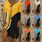 19 Hot pop fashion skirt V collar Stripe splice T-shirt dress bright beach xxxl yellow