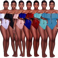 Pop 2019 European and American new summer swimwear sexy open back charming light blue s