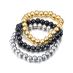 Men's Fashion Accessories Jewellery  Bracelet fashion stainless steel beads exquisite bracelet black normal