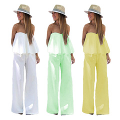 Summer hot selling pure color sexy chest wrap two-piece set Women's Clothes Separates fashion green s