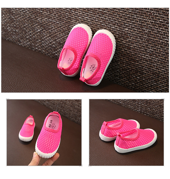 boys and girls shoes baby breathable single net step shoes hollow children's shoes Athletic pink shoe length12.7cm