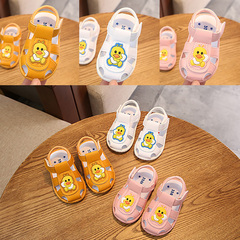 New baby boy sandal bag head girl baby anti-kick cartoon anti-skid wear wear wear shoes yellow Internal length11.5cm