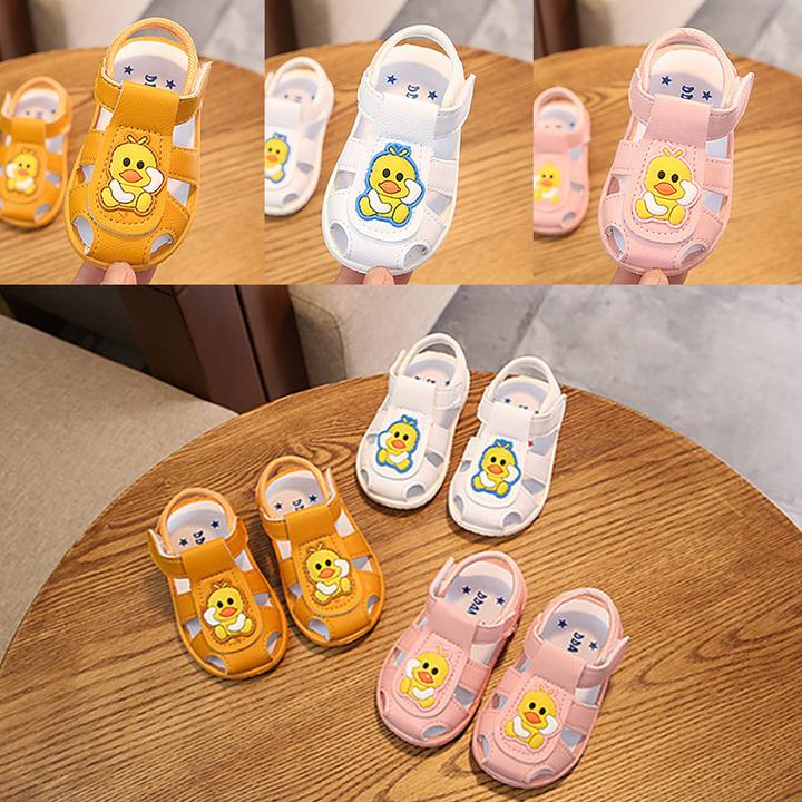New baby boy sandal bag head girl baby anti-kick cartoon anti-skid wear wear wear shoes yellow Internal length11.5cm