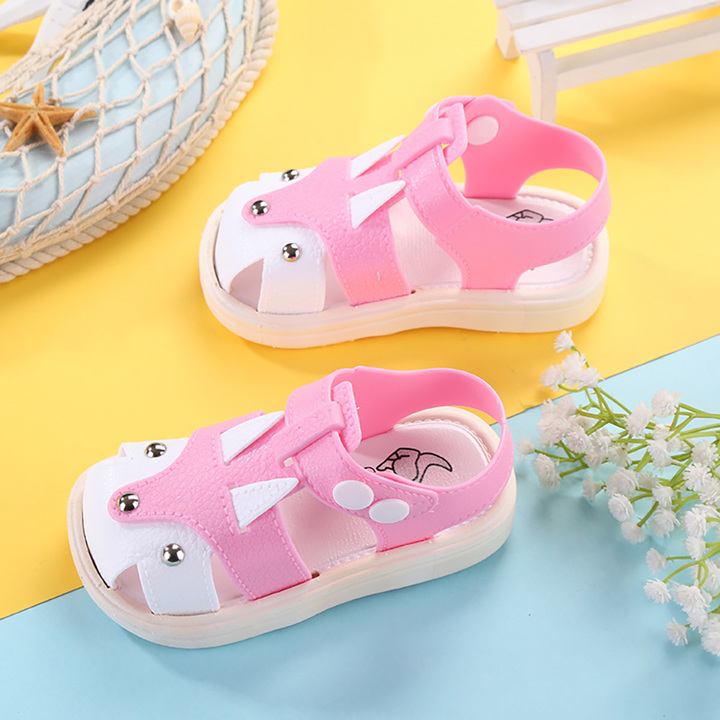 Cool slippers, cartoon children, boys and girls, non-skid beach shoes Boys Shoes Sandals kids pink internal length12.5cm
