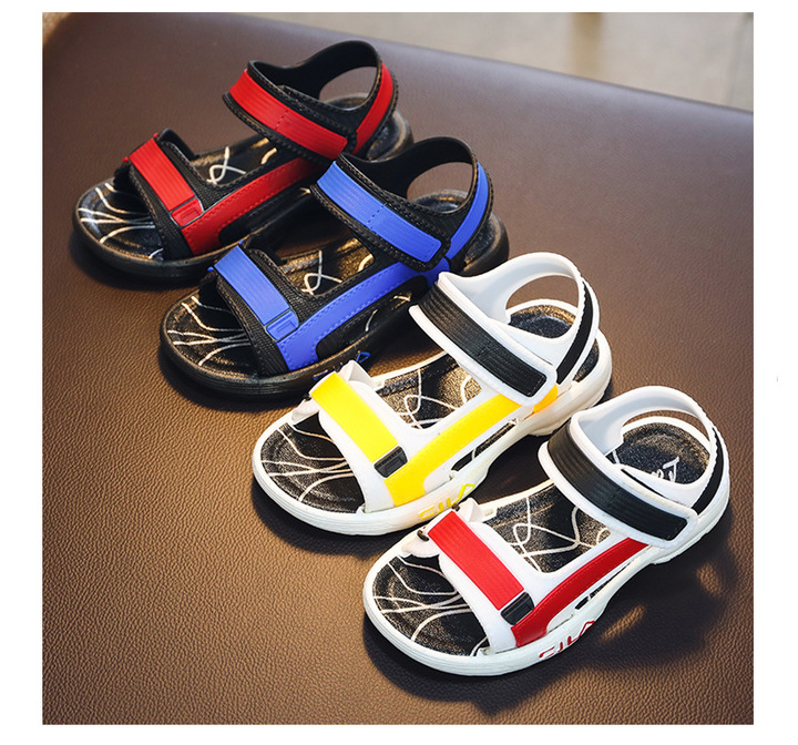 Boys sandals in the big boys sandals non-skid students soft bottom sports beach shoes yellow internal length16.5cm
