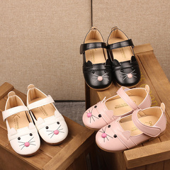 Girl shoes cat head cute breeze catwalk shoes fashion casual princess shoes pink Internal length13.6cm