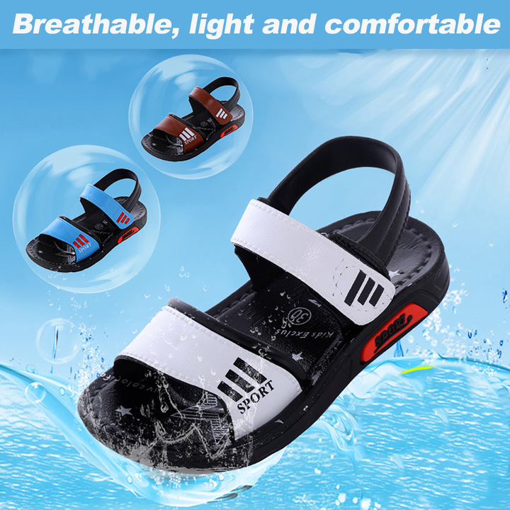 Children's sandals new non-sliding flat bottom students beach shoes baby boy shoes white 21 yards